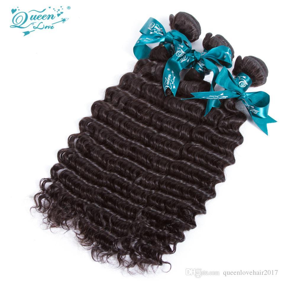 Königin-Liebe 8A brasilianisches tiefes Wellen-Jungfrau-Haar 3 Bündel mit Schließung Jungfrau-Menschenhaar mit Bündelköniginliebe mit Schließung und Bündeln