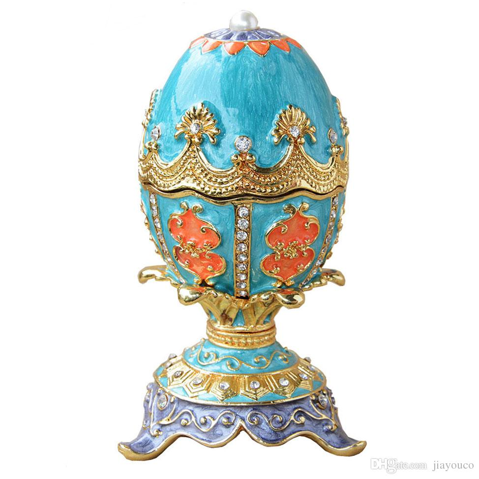 2018 easter egg russian faberge egg trinket jewelry box ring box 2018 easter egg russian faberge egg trinket jewelry box ring box vintage decor metal alloy crafts birthday present for her christmas gifts from jiayouco negle Images
