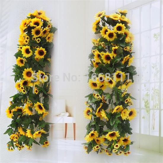 2018 Wholesale Artificial Sunflower Wall Hanging Rattans Silk Daisy Wall  Mounted Vines Flower Garlands For Wedding Festival Xmas Party Decor From  Home163, ...