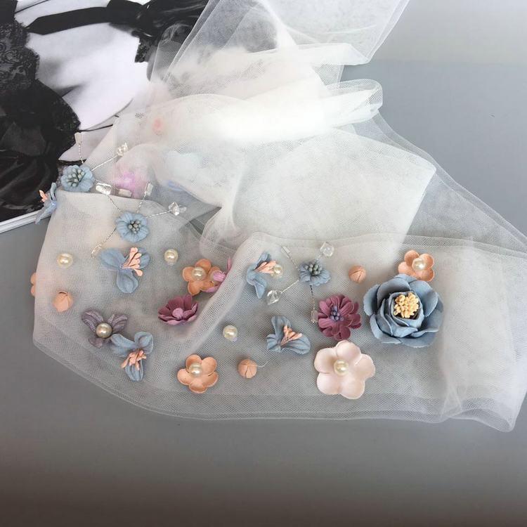 Woman headdress hair Korean princess bride with elegant fairy gauze ribbon Choker Beaded headdress flower wedding accessories