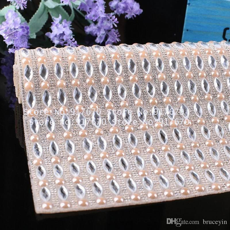 40X24cm/sheet Crystal Clear Rhinestone Roll Trim with Colors Pearl Beads Banding Trim Applique hotfix DIY Clothing Craft