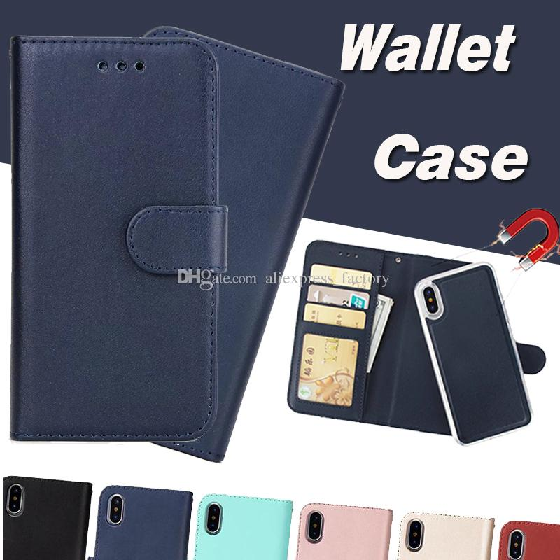 low cost 46138 5d060 2 in 1 Magnetic Magnet Wallet Leather Retro Case Card Slot Holder Cover For  iPhone XS Max XR X 8 7 6 Plus Samsung Galaxy S9 S8 S7 Note 9 A8
