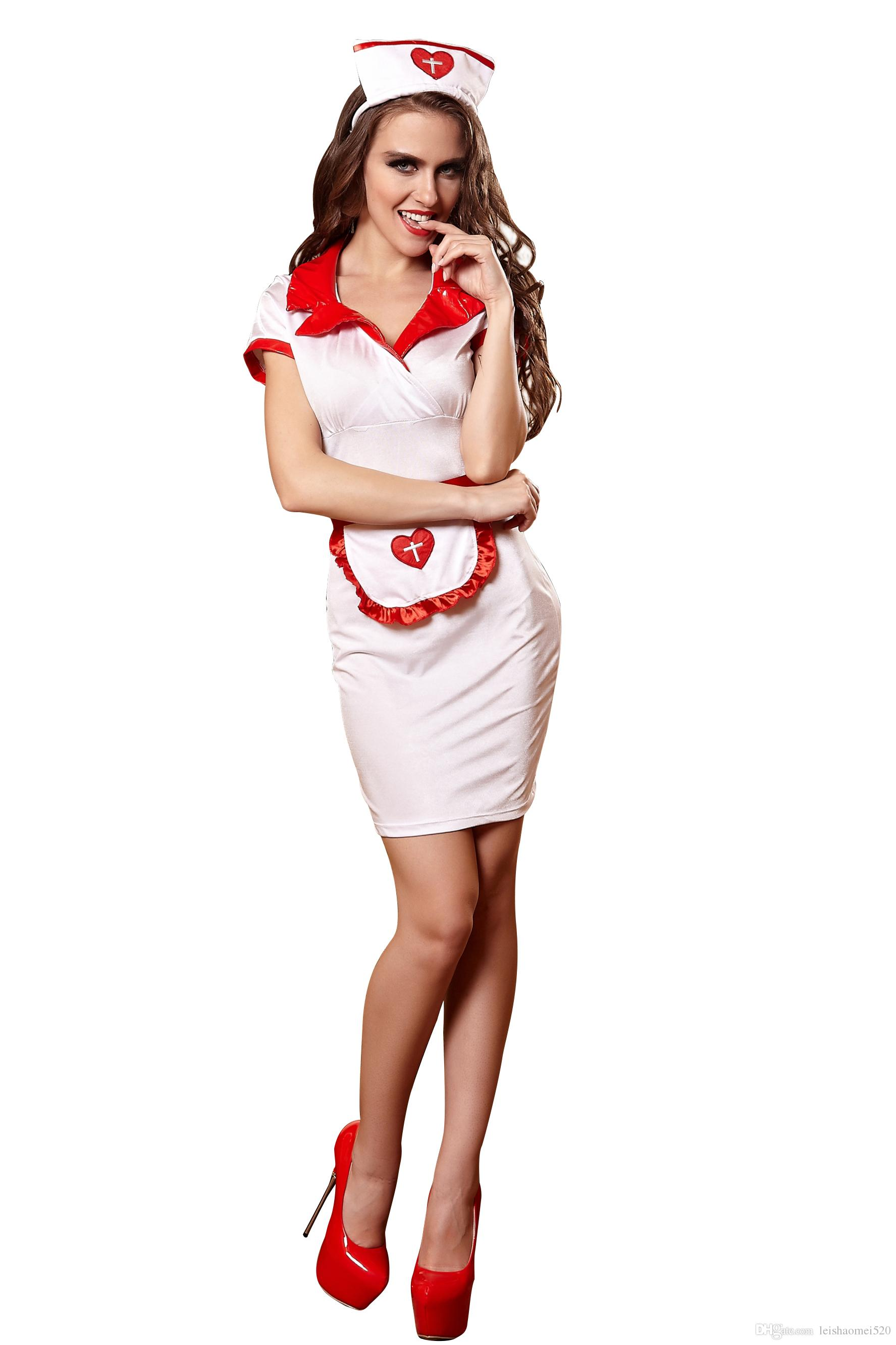 Großhandel Reizvolle Klage Für Frauen Weiße Krankenschwester Cosplay ...