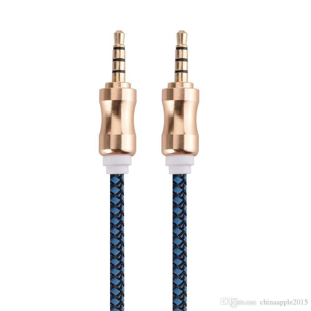 1 M 3FT 3.5mm Örgülü Aux Ses Kablosu Araç Ses Uzatma Kablosu iphone ipod için samsung için ipad mpiçin hoparlör