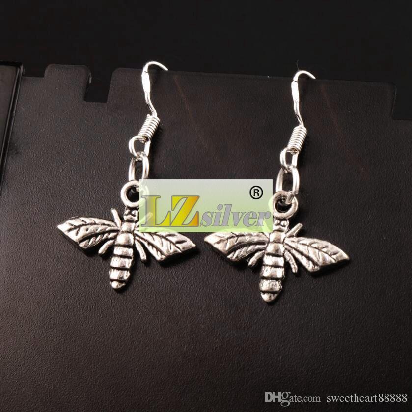Bee Flying Earrings 925 Silver Fish Ear Hook 17.2x30.5mm Antique Silver Chandelier E962