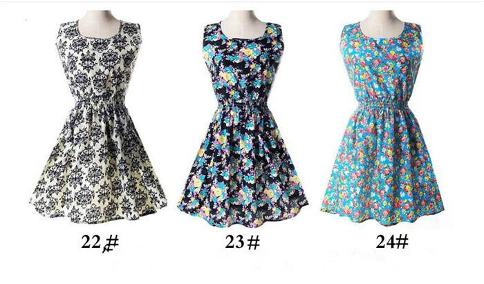 19 dessins Femmes Casual flower dress Plus Size Cheap Dress Mode sans manches été robe M051