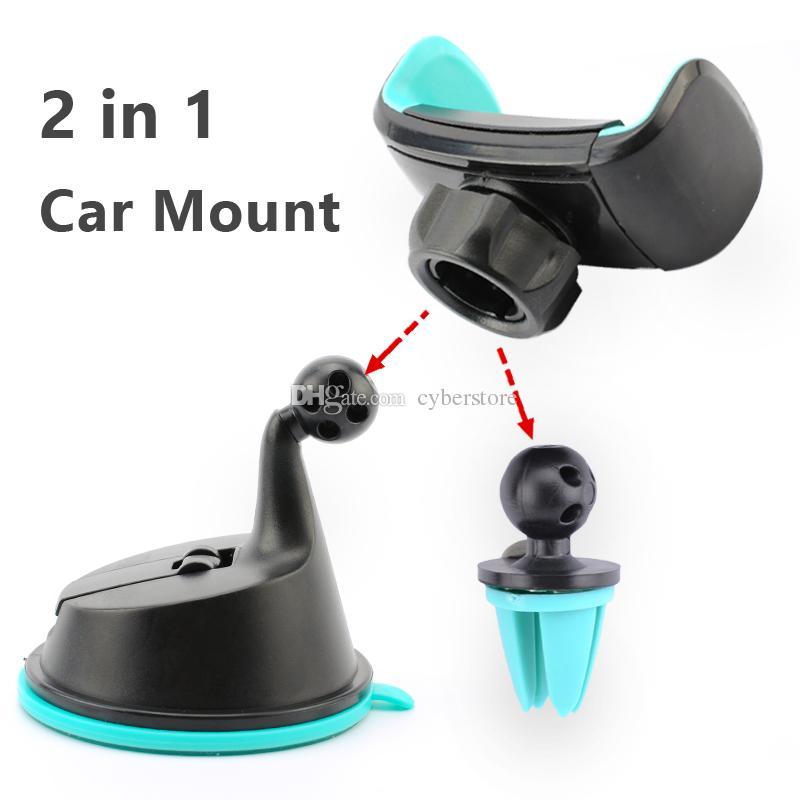 2 en 1 Mini parabrisas Soporte de montaje para automóvil 360 Ventilación de aire giratoria Sunction Kickstand para teléfono celular móvil iphone Samsung S8