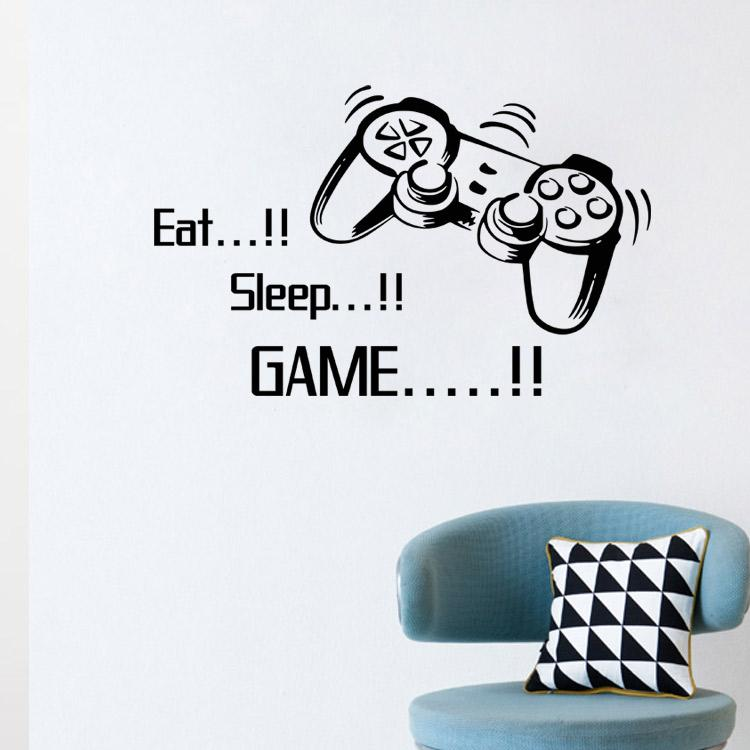 4045 Eat Sleep Game Vinyl Wall Art Stickers Gamer Xbox Ps3 Boys Bedroom  Letter Quotes Home Decoration Wall Mural Removable Wall Sticker Removable  Wall ...