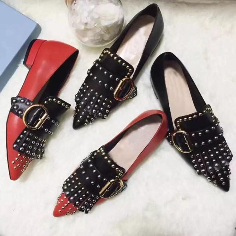 hot! fashion luxury women U709 40 BLACK red p GENUINE LEATHER STUD tassel pointy FLATS SHOES designer