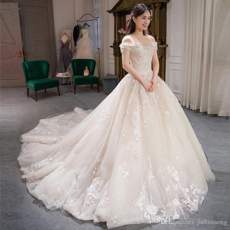 Korean Bridal Lace A Word Shoulder Backless Bind Together To 2017 ...