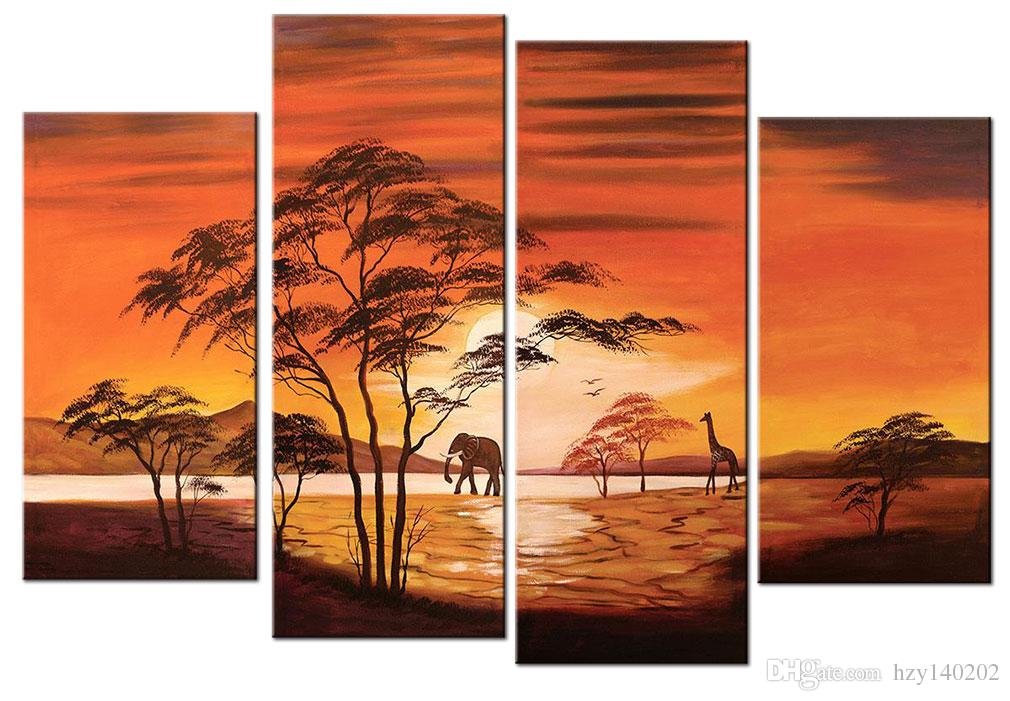 YIJIAHE Landscape Print Canvas Painting Art The setting Sun Canvas Art Wall Pictures For Living Room Large Wall Art DW8