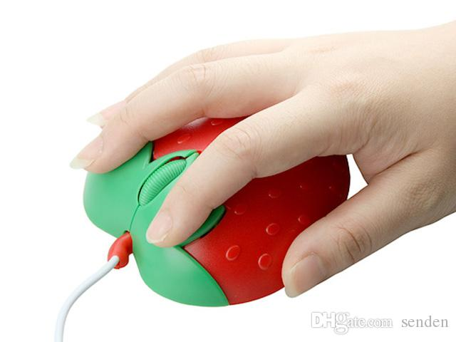 La novedad Strawberry USB Optical Mouse, forma de corazón dulce con cable USB Mouse mouse de fruta de dibujos animados de corazón rojo para PC / Laptop Kids / Lovers regalo