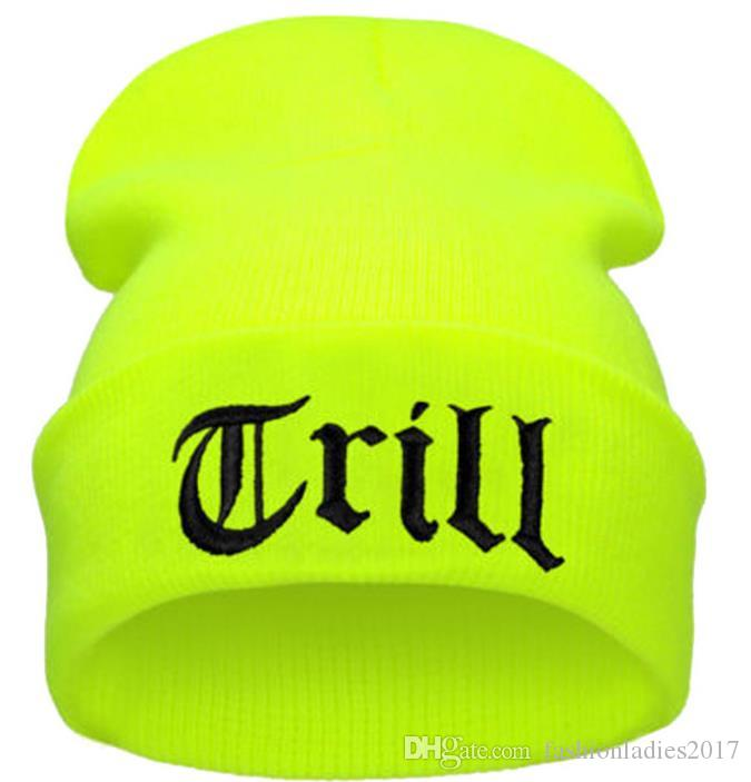 2017 Fashion TRILL Knit Neon Beanie Hat Men Hiphop Winter Caps Warm Hats for Women Men Skullies and Beanies Solid Gorros Hombre