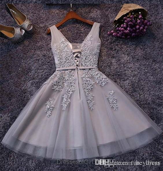 Silver Grey Cocktail Dresses Homecoming Dresses 2017 Real Image Sexy Short Prom Dress Appliqued Tulle A Line Special Occasion Party Gowns