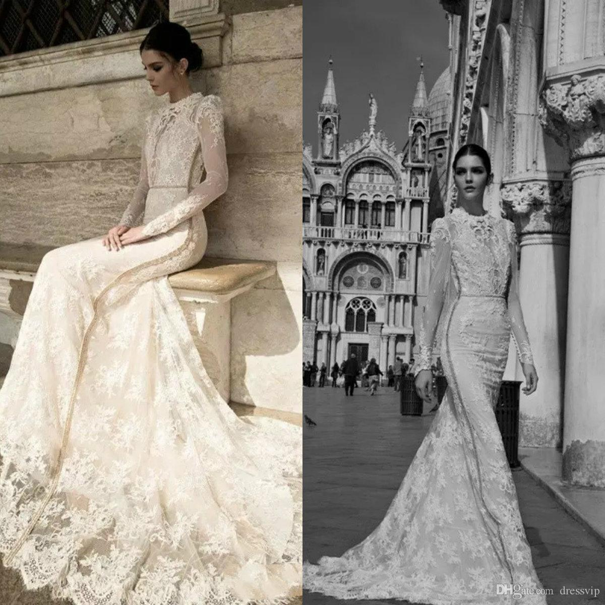 Inbal Dror Vintage Mermaid Wedding Dresses 2018 Modest High Neck ...