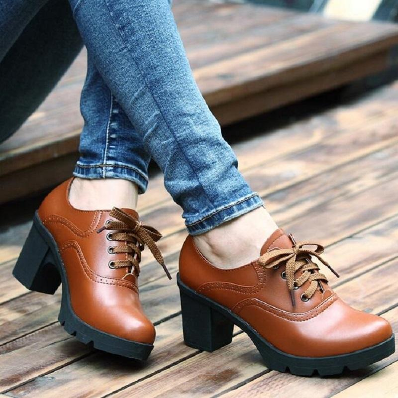 Wholesale Hot Selling Vintage Lace Up Oxford Shoes For Women Fashion  British Style Round Toe Woman Oxford Shoes Ladies School Shoe Shoes For Men  Womens ... a41980bfa