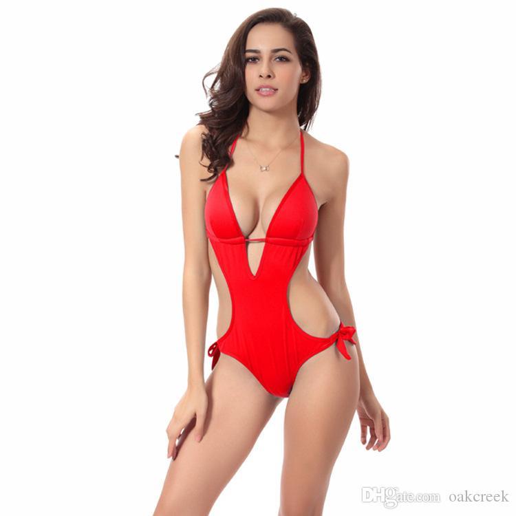 più il grande donne di un pezzo bikini sexy senza schienale costume da bagno con il rilievo del reggiseno titolare reggiseno i S-2XL