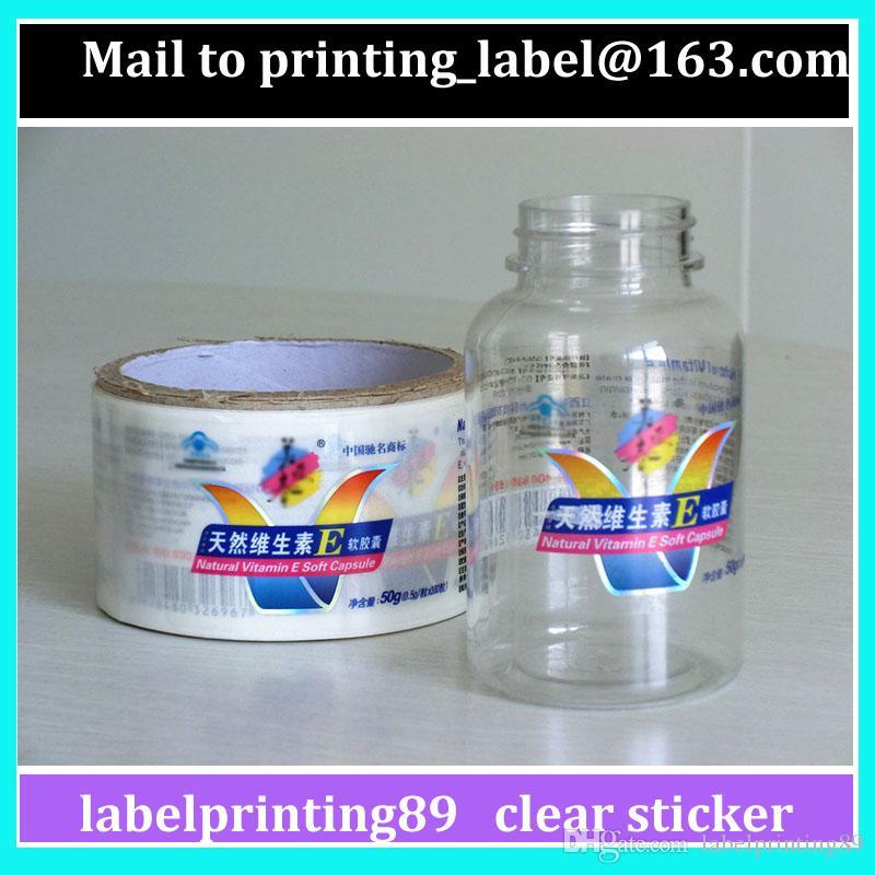 Пользовательская трансплатная или чистая бутылка для бутылки Roll Упаковка самоклеящаяся наклейка Высокопрозрачная прокатная упаковочная этикетка