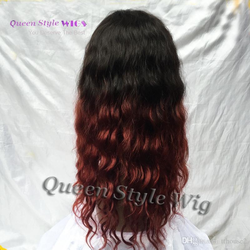 Горячая Дешевые 100% Бразильский Вьющиеся Волосы Парик Мягкие Гладкие Девственные Человеческие Волосы Половина Руки Связаны Кружева Перед Парики Черный Ломбер Темно-Красный Бургундия