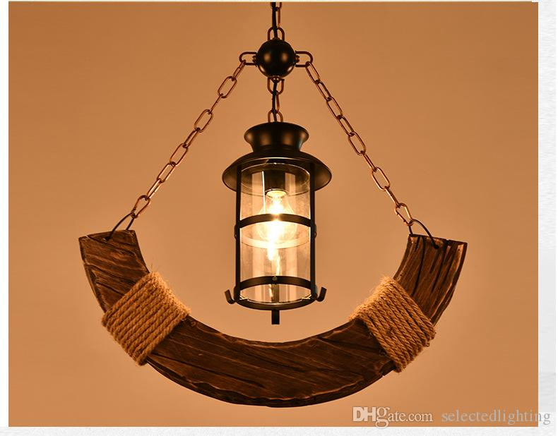 Discount Vintage Amercian Black Wooden Pendant Lamps 1 Oil Light ...