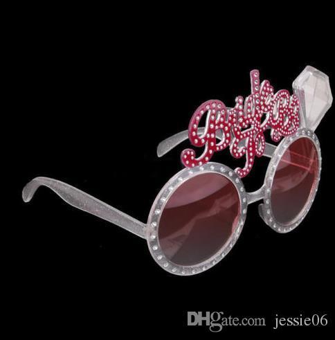 Noiva a ser Óculos Hen única Party Night Acessórios Fancy Dress criativos da novidade Bling rosa óculos de sol casamento presente favores de eventos
