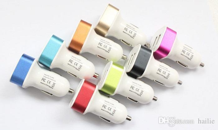 Adaptador del cargador del coche del puerto de USB 2 del metal 2.1A de la promoción para la tableta Ipad Iphone 6 7 más Samsung s7 s7edge s8 más el teléfono móvil