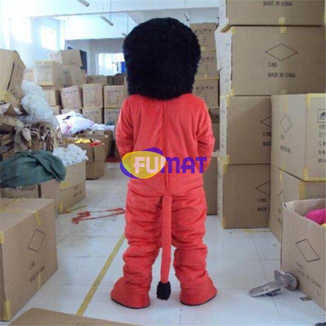 FUMAT Red Lion Mascot Costume Black Head Lion The Best Mascot Costume Suit Halloween Christmas Birthday Dress Adult Size Customization
