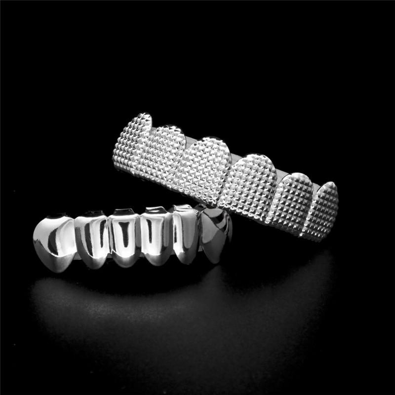 Trendy Hip Hop Teeth Grillz Full Diamond 18K Gold Plated Grillzs Luxury Hiphop Tooth Cap Jewelry For Men 2017 Hot Sale
