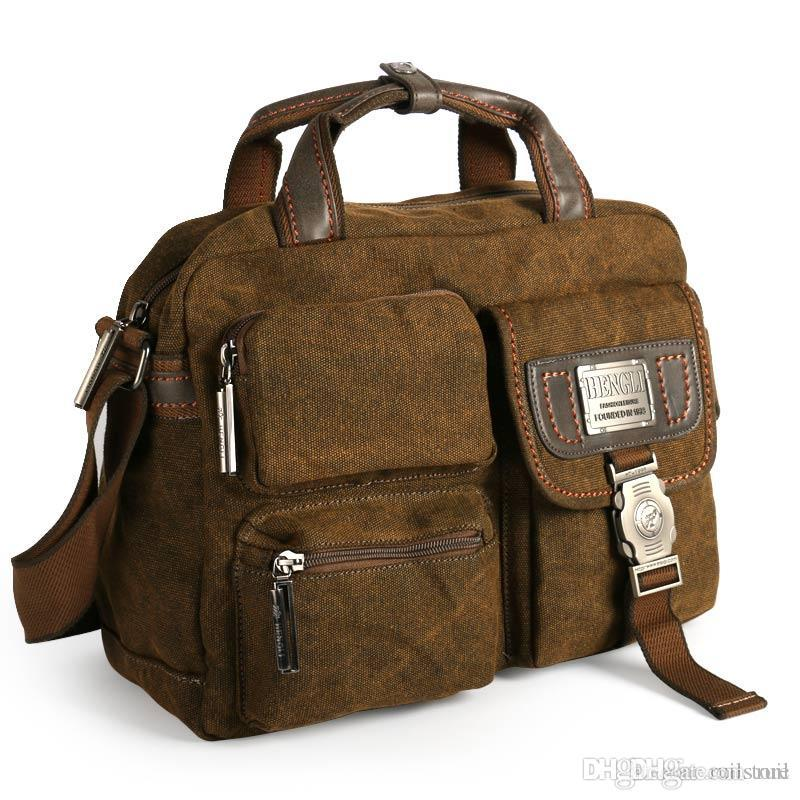 c63bc400795e Ruil Multifunction Men s Retro Briefcase 2017 canvas bags Leisure Toolkit  Package crossbody shoulder travel laptop bag