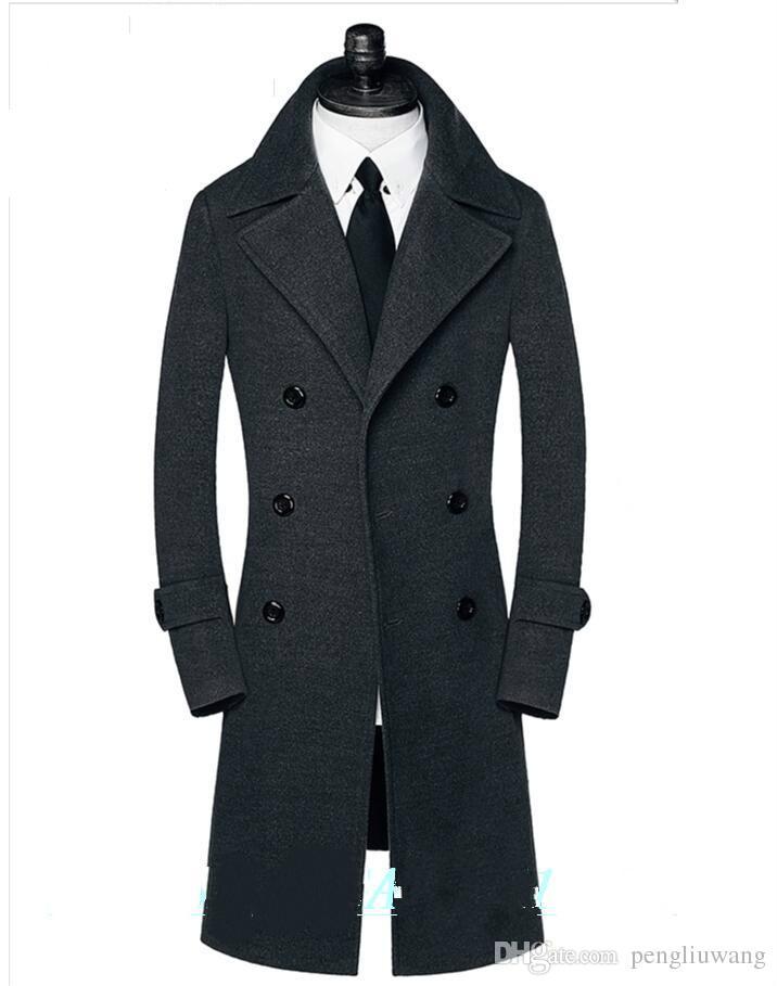 Doppio Petto Uomo Casual Cappotto Inverno Lungo Trench Cappotto Caldo Giacca Slim