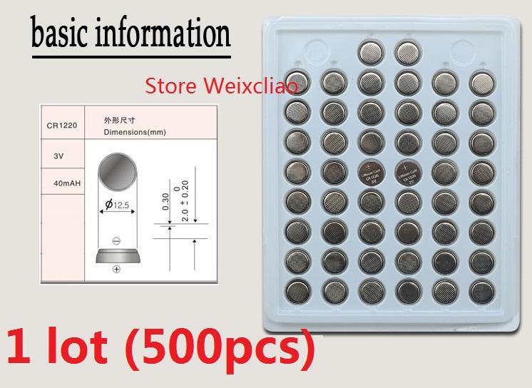 500 قطع 1 وحدة cr1220 3 فولت بطارية ليثيوم أيون زر خلية البطارية cr 1220 3 فولت بطاريات ليثيوم أيون عملة صينية حزمة شحن مجاني