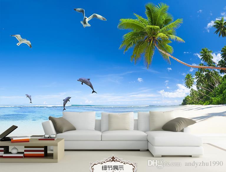 3D Fototapete benutzerdefinierte 3d Wand Wandgemälden Fresh sea Landschaft Hintergrund Wand 3D Wohnzimmer Wanddekoration