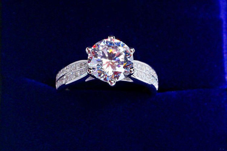 المشاركة الماس الأبيض 14kt الذهب معبأ خاتم الزواج هدية ريال 925 خواتم فضة