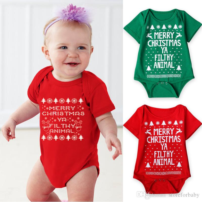 19191b049327 2019 Red Christmas Rompers Girls Green Boys Jumpsuits Infant Baby ...