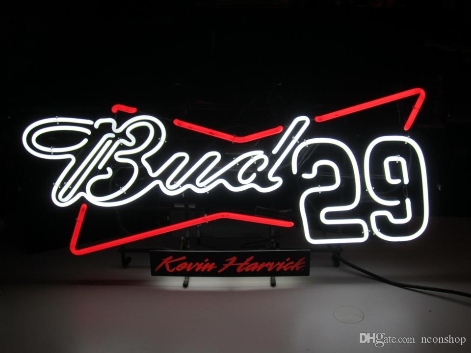 nuovo Bud Light NASCAR # 29 Kevin vetro ture fatto a mano Birra Neon Light Sign bar