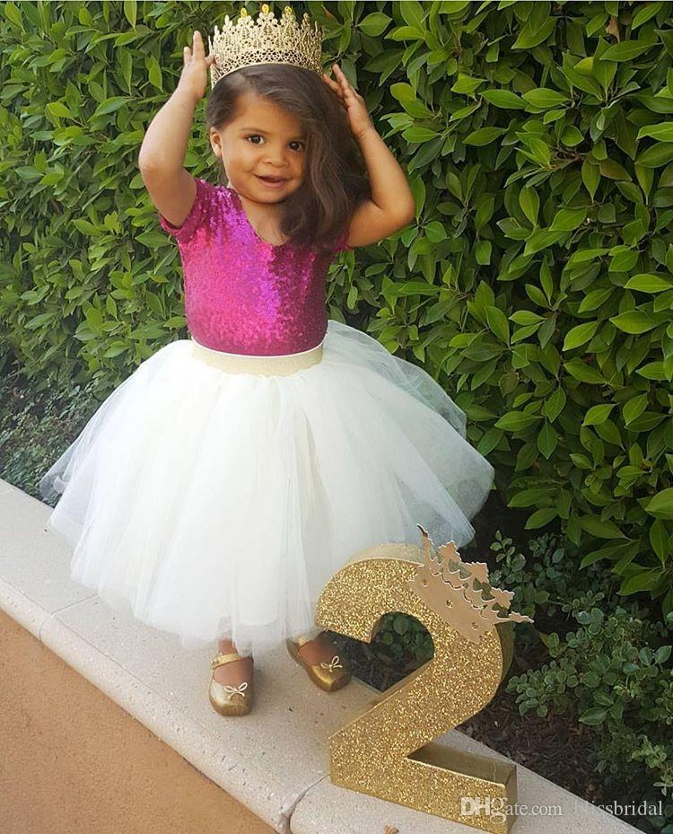 Lovly Two Piece Wedding Flower Girls' Dress Jewel Sequins Top and Tull Skirt Kids Formal Wear Tutu Skirt Long Dresses