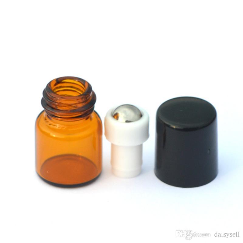 Empty 1ml Essential Oil Roll Glass Bottle Metal Ball Roller on Amber Bottle Liquid fragrance Bottle