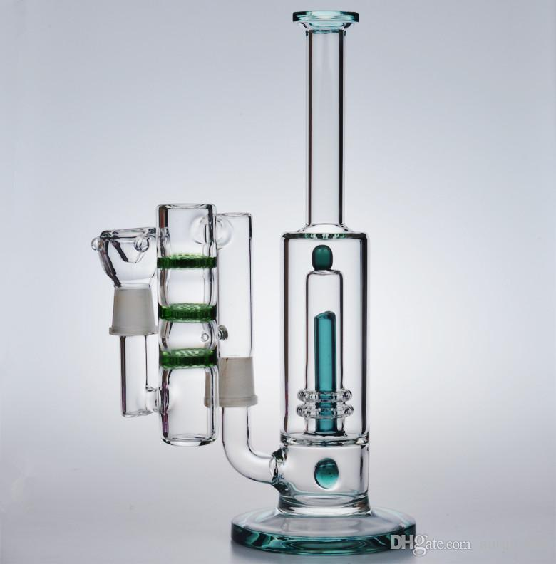 """12"""" tall glass bongs water pipes 18.8mm heady recycler oil rigs dab beaker bowl bubbler inline ash catcher honeycomb perc 18mm"""