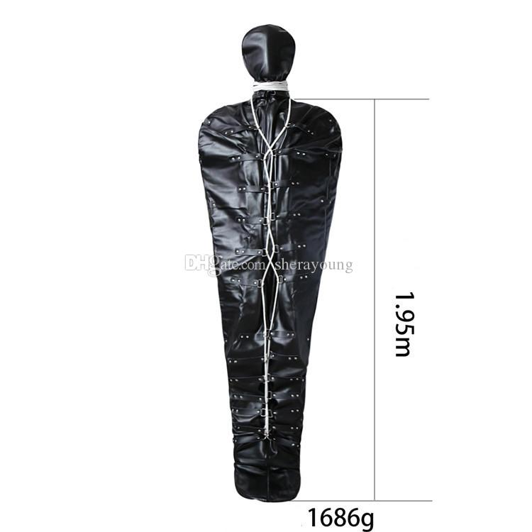 Mummy Sleep Sack Bondage Gear BDSM Sexual Body Restraints Slut Slave Trainer Torture Adult Sex Toys for Women PU Black Pink GN302405215
