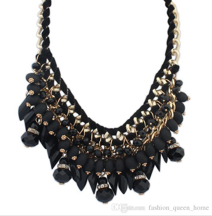 Hot Sale Brand Fashion Crystal bead Necklaces Pendants Chunky Big Choker Necklace Vintage Collar Statement Jewelry F260