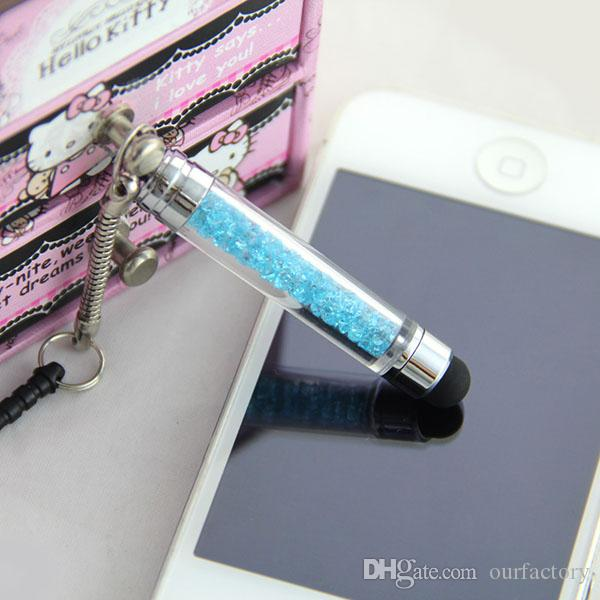Bling Diamonds Clear Touch Screen Pen Crystal Stylus For iPhone 6 plus 4S 5G Samsung S3 S4 + 3.5mm Dust Plug Style