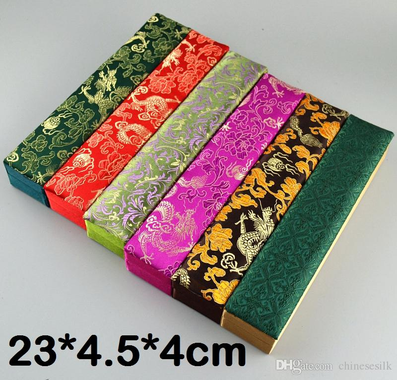 Rectangle Silk Brocade Gift Boxes for Jewelry Necklace Storage Case Decorative Scroll Painting Chopsticks Women Hand Fan Packaging Box