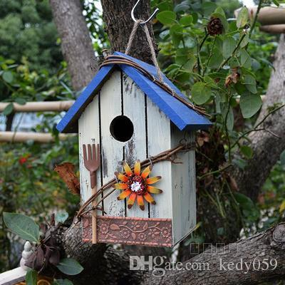 handmade wooden birdcage outdoor and retro gardening birdnest decorations small wooden house vintage garden ornaments craft supplies