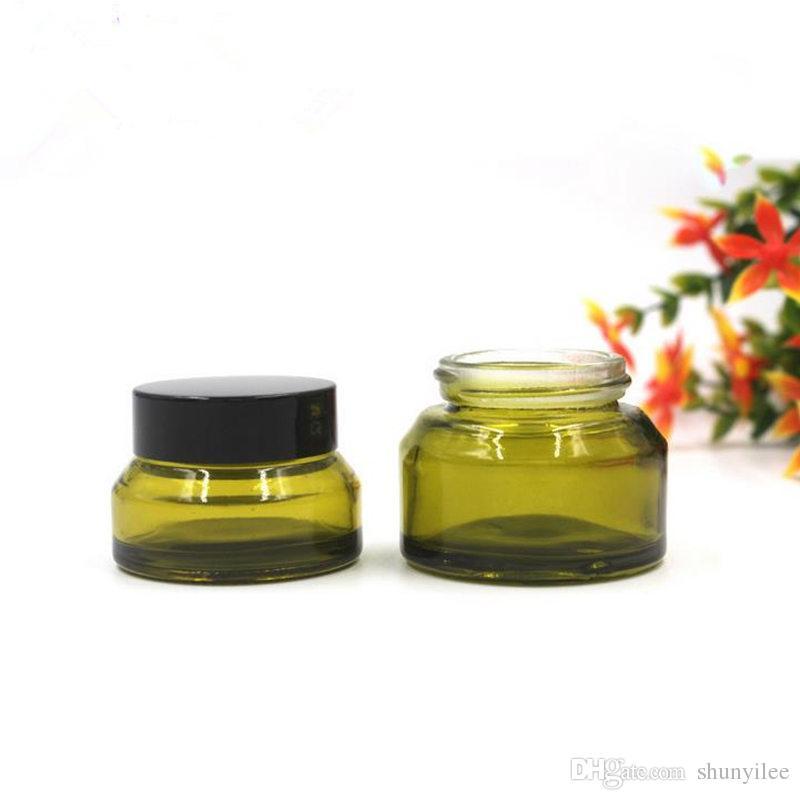 Alta qualità 30g vetro verde crema bottiglia di lusso obliqua, 15g piccoli vasetti cosmetici, vasetti di vetro vuoto F2017854