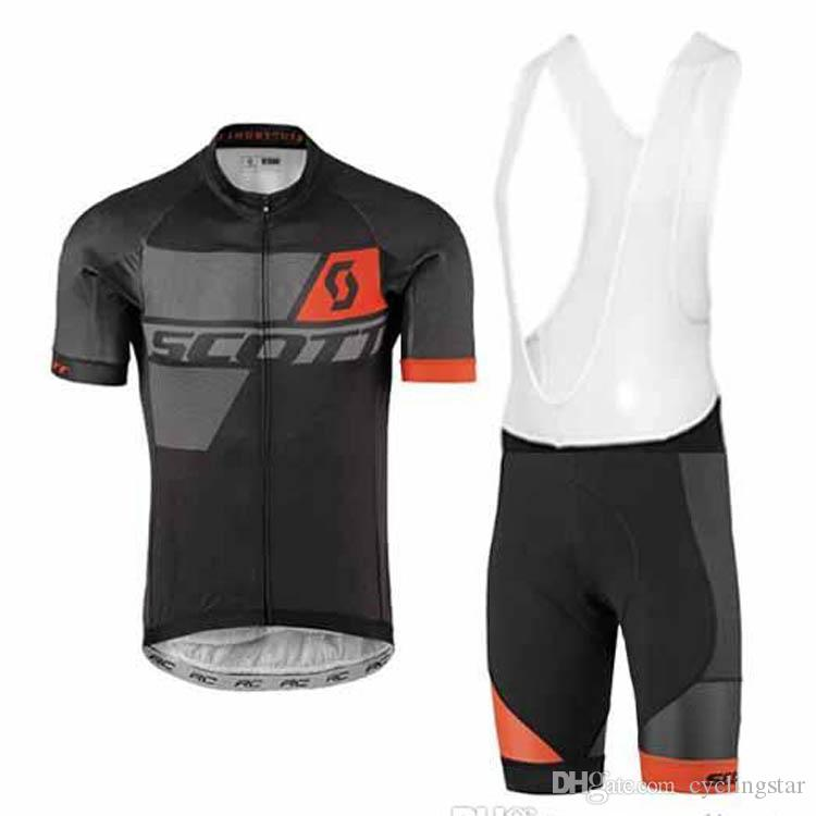 New Men scott cycling jersey cycling clothes set maillot ciclismo Short Sleeve KTM Ropa ciclismo MTB Cycling shirt+BIB Shorts D1003