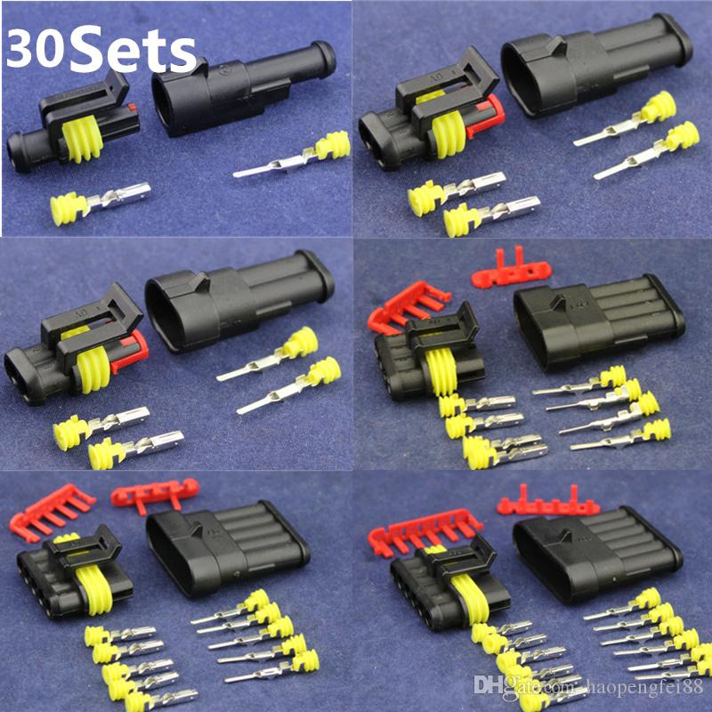 Universal 30 Kits Sets 1 2 3 4 5 6 Pins Way Sealed Waterproof IP68 Electrical Wire Connector Plug Car Auto Motorcycle