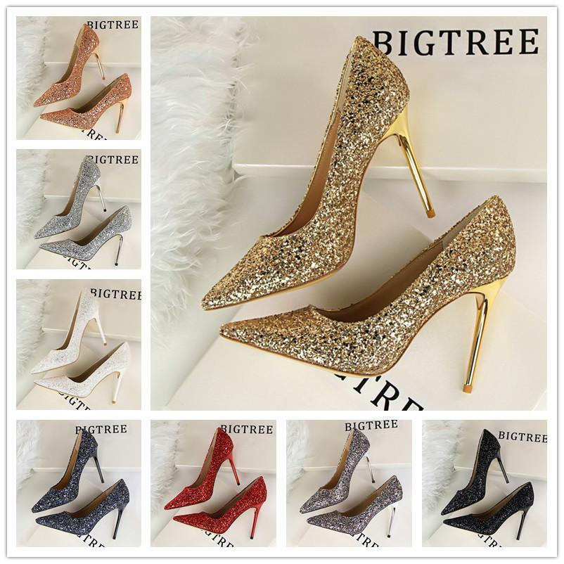 Fashion Heel Shoes Party 2cm Pumps Gold High New For Weeding Nice Women Heels 92YEWDHIe