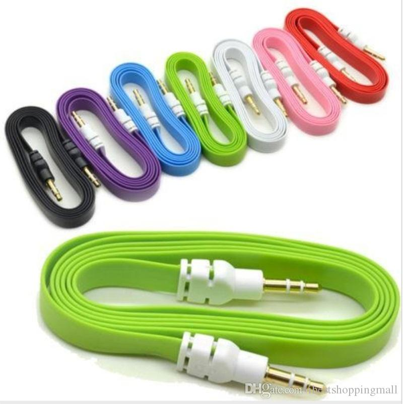 For iphone 5 ipod ipad mp3 mp4 phone 1M 3ft 2M 6ft 3M 10ft 3.5mm Flat Noodle Audio Cable Stereo Male to Male Car Aux Audio Cables Cords