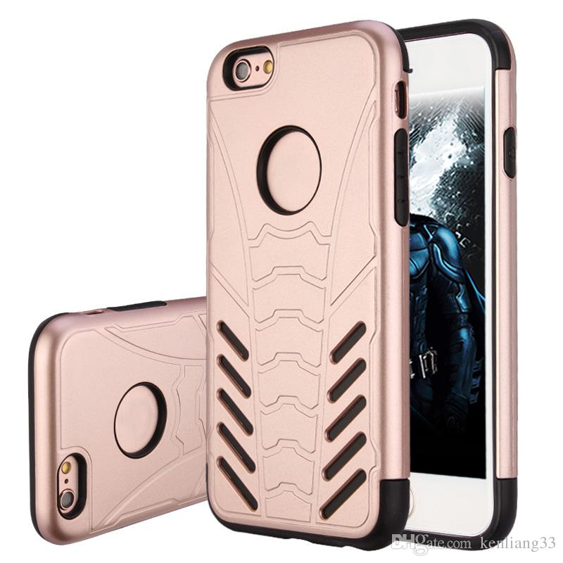 For Iphone 7 7plus 6 6s plus Samsung s8 s7 edge s6 edge tpu+pc two in one metal armor fashion shockproof phone case