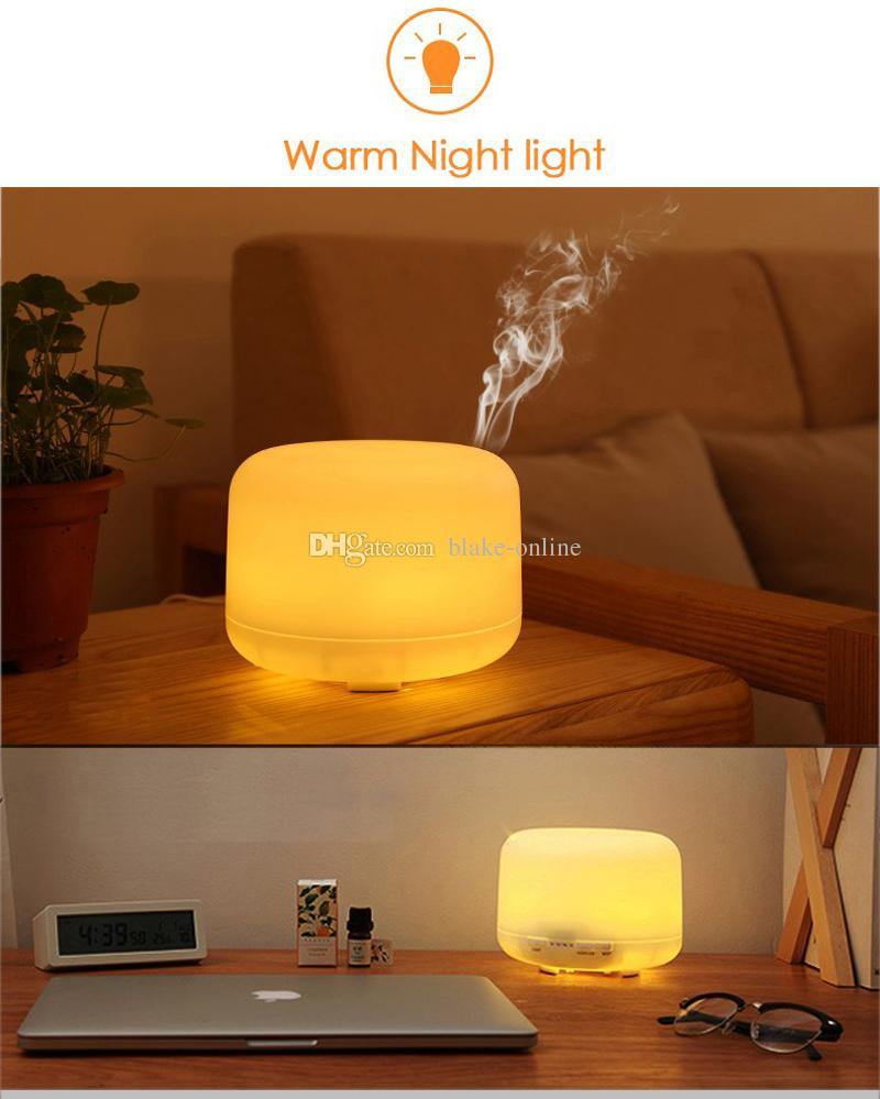 عالية الجودة بالموجات فوق الصوتية 500ML أضواء بيضاء دافئة رائحة الناشر العطور المرطب أجهزة تنقية الهواء البخاخة مع 4 الموقت للمنزل